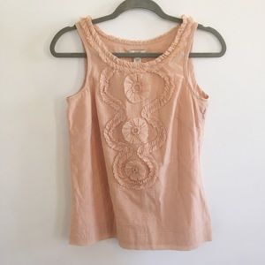 J. Crew Peach Cotton Silk Ruffle Swirl Tank